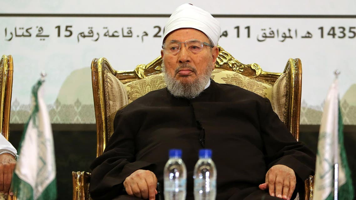 Egyptian Cleric and chairman of the International Union of Muslim Scholars Sheikh Yusuf al-Qaradawi attends a seminar entitled 'Jerusalem and Al-Aqsa between conspiracy and confrontation' in the Qatari capital Doha on May 11, 2014
