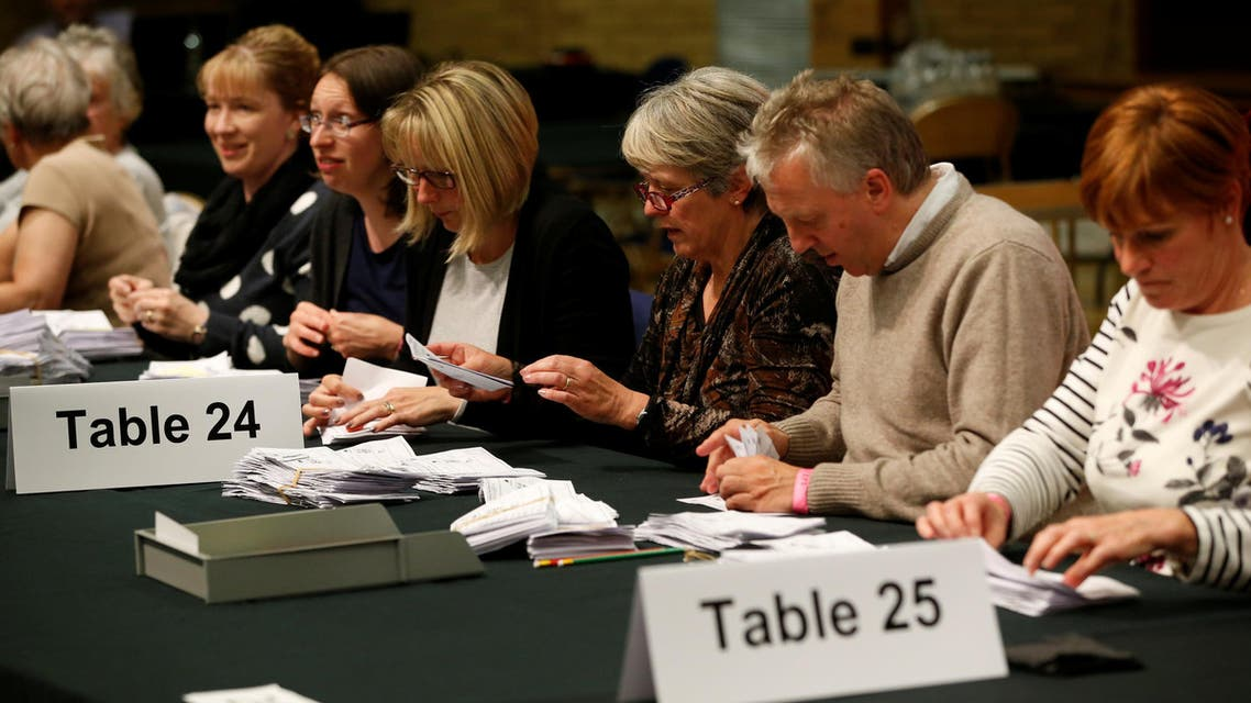 Votes are being recounted at a counting centre during Britain's election in Kendal, June 9, 2017