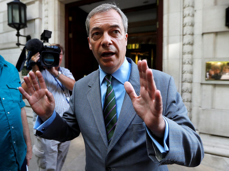 Former UKIP leader Nigel Farage leaves television studios in central London, Britain June 1, 2017. (Reuters)