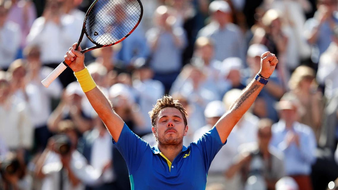 Switzerland's Stan Wawrinka celebrates winning his semi-final match against Great Britain's Andy Murray at Roland Garros, Paris, in the French Open on Friday, June 9, 2017. (Reuters)