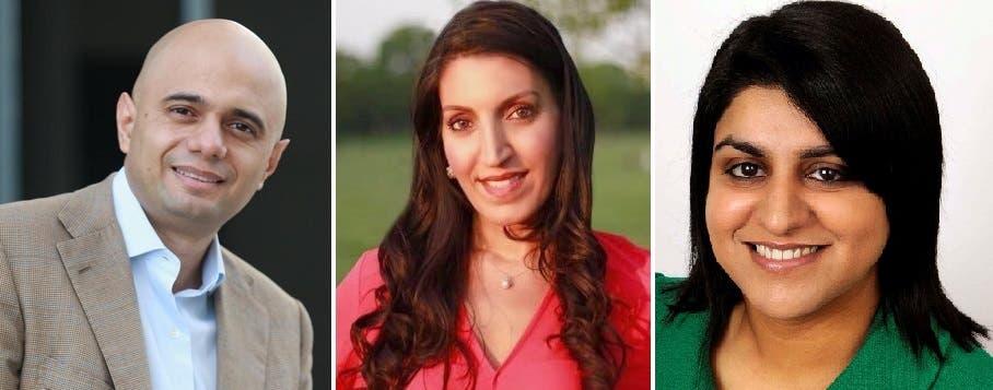 من اليمين شهبانا محمود وروزينا اللين خان وساجد جاويد