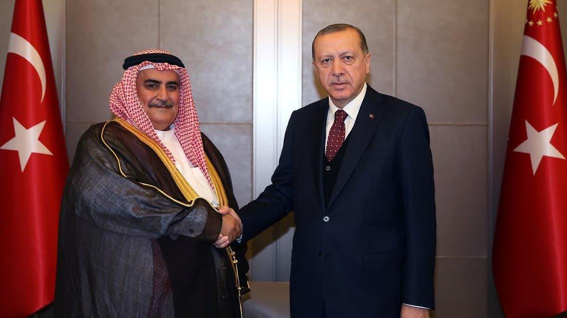Turkish President Tayyip Erdogan meets with Bahrain's Foreign Minister Shaikh Khalid bin Ahmed bin Mohammed Al Khalifa in Istanbul. (Reuters)