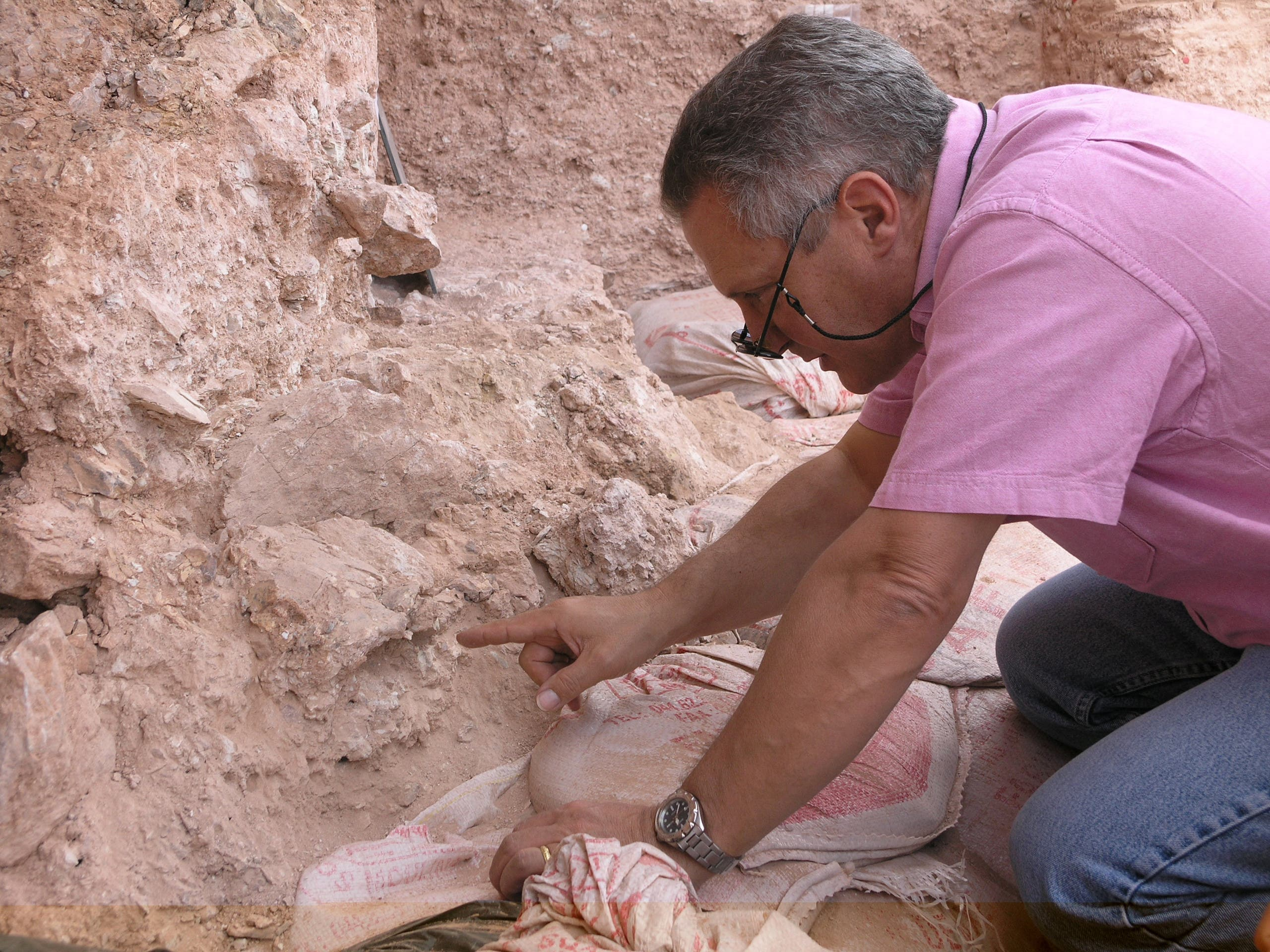 Dr. Jean-Jacques Hublin points out the new finds at Jebel Irhoud in Morocco in this undated handout photo obtained by Reuters June 7, 2017.