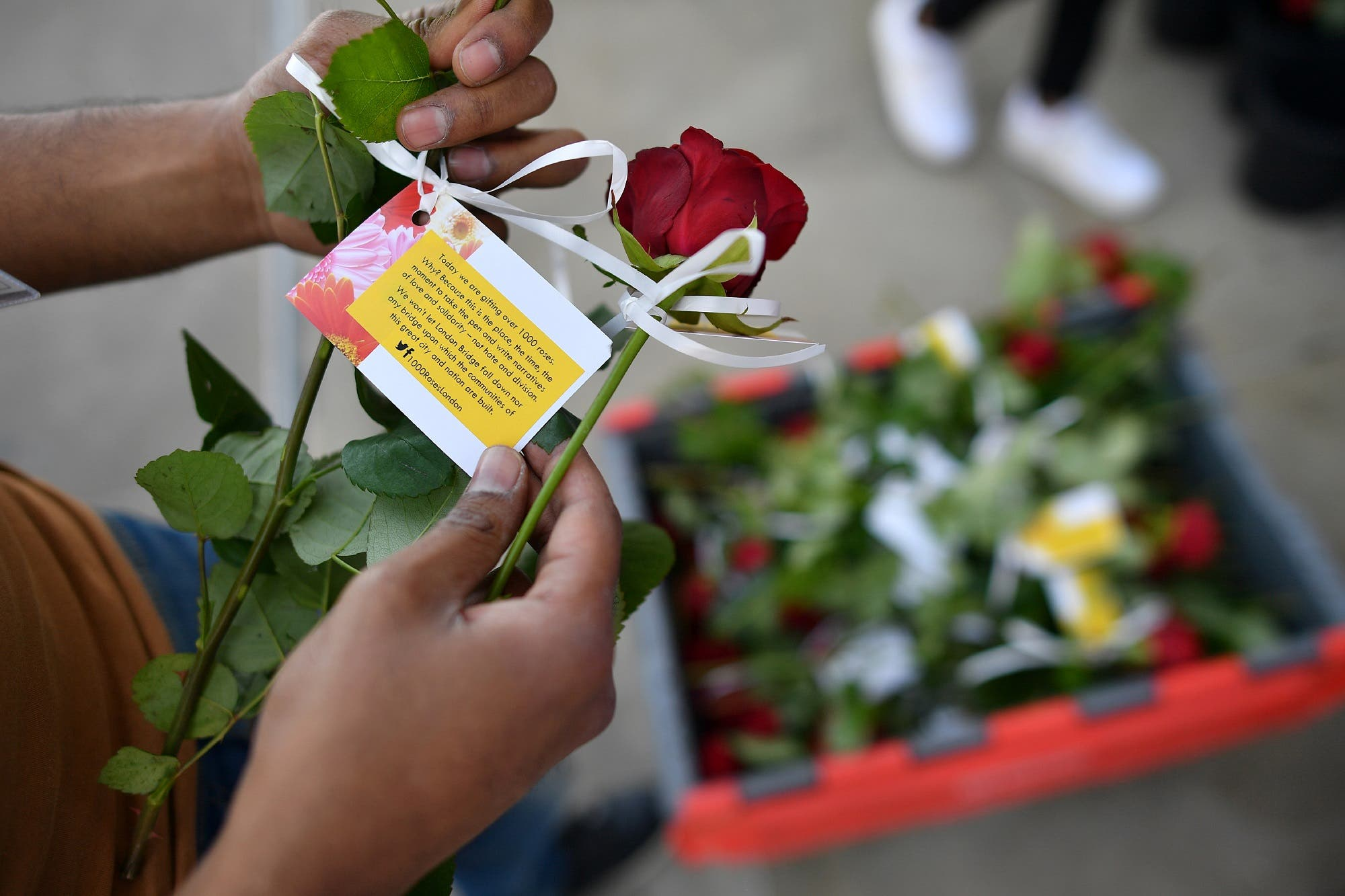 roses being handed out on London Bridge (2)