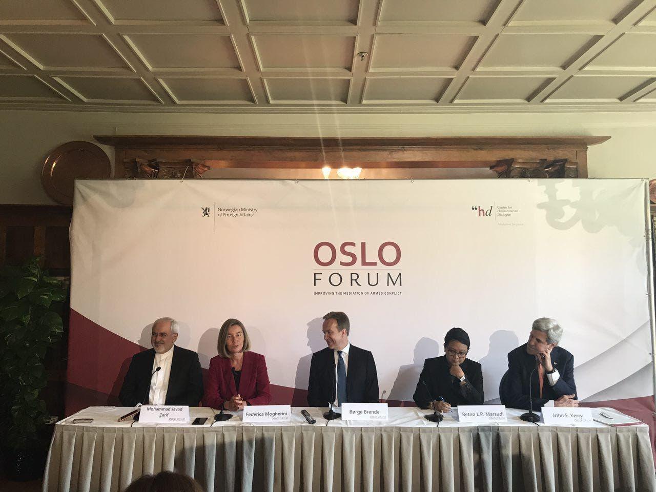 کنفرانس اسلو با حضور جان کری وزیر امور خارجه آمریکا و محمد جواد ظریف وزیر امور خارجه ایران