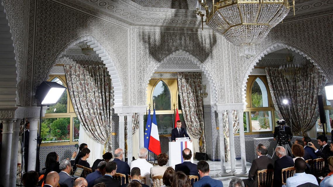 Emmanuel Macron speaks during a news conference at the royal palace in Rabat, Morocco, on June 14, 2017. (Reuters)