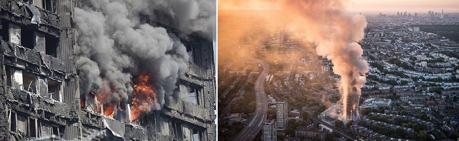 نيران الحريق كانت عظيمة وهائلة، لكن خبراء أكدوا عبر وسائل الاعلام أن المبنى لن يسقط وينهار