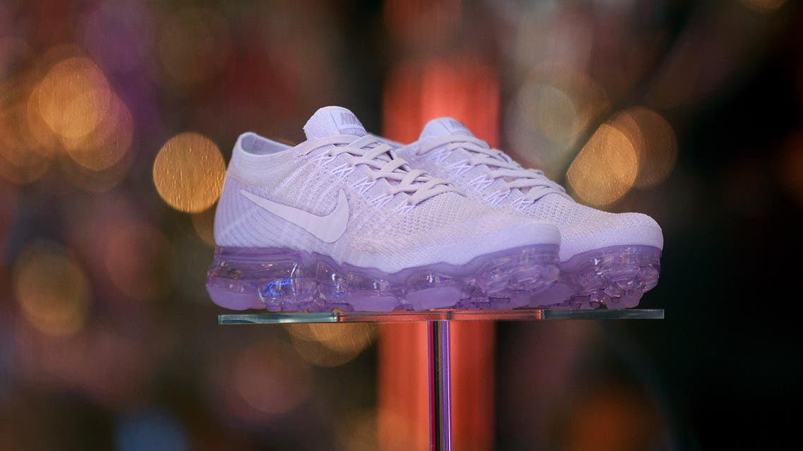 A pair of shoes are displayed in the window of the Nike SoHo store, June 15, 2017 in New York City. (AFP)