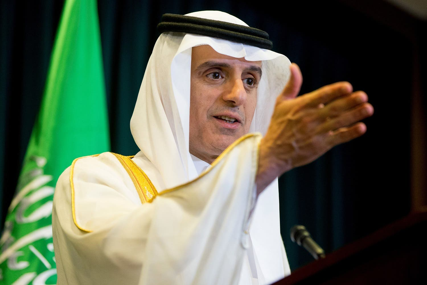 Saudi Arabia Foreign Minister Adel al-Jubeir speaks at a news conference at the Saudi Arabian Embassy in Washington, Friday, June 17, 2016. (AP)