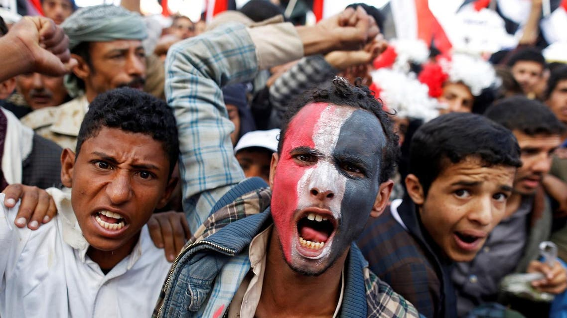 Supporters of the Houthi movement and Yemen's former president Ali Abdullah Saleh shout slogans as they attend a joint rally to mark two years of the military intervention by the Saudi-led coalition, in Sanaa, Yemen March 26, 2017. REUTERS/Khaled Abdullah