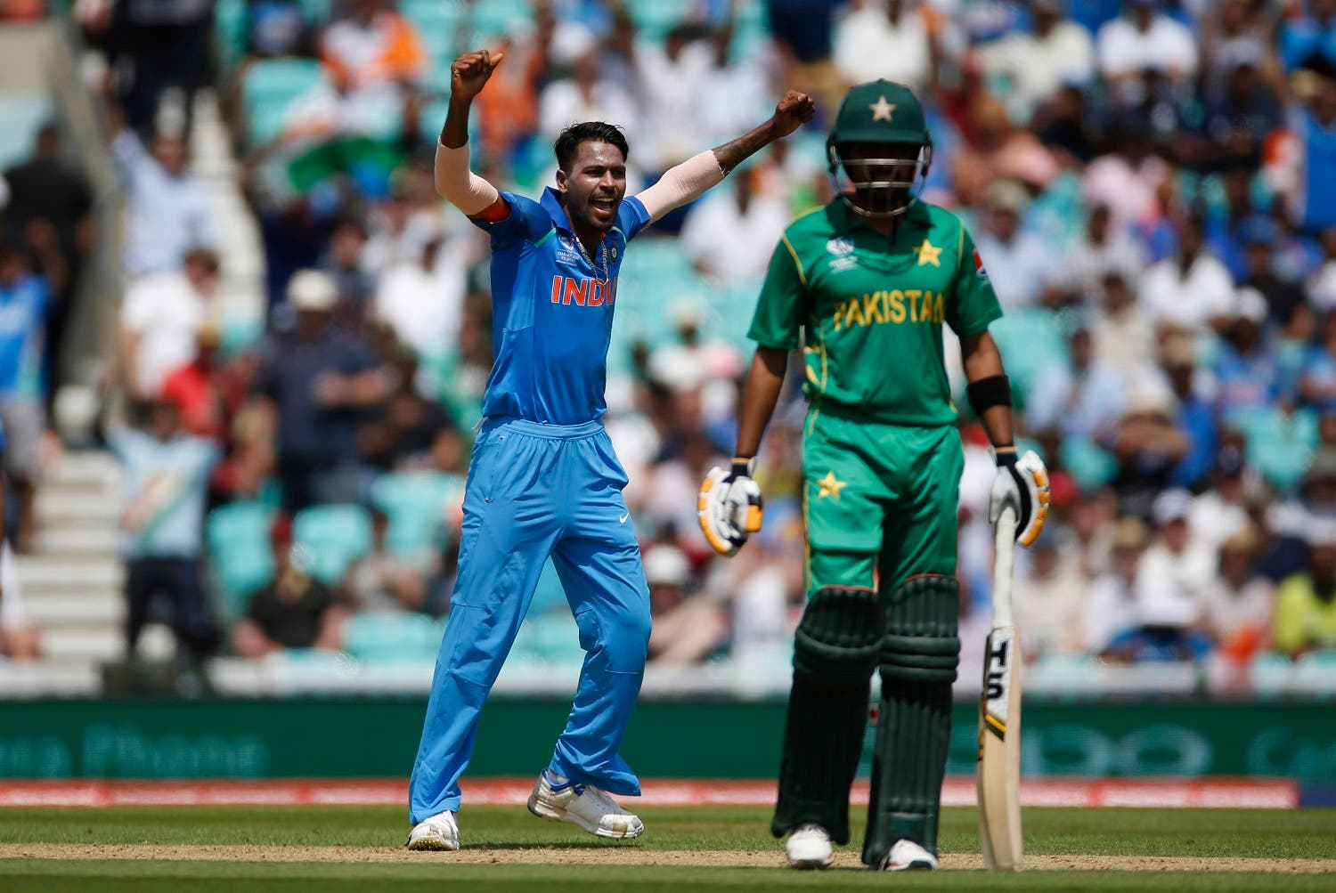 India's Hardik Pandya celebrates taking the wicket of Pakistan's Fakhar Zaman in the 2017 ICC Champions Trophy Final on June 18, 2017. (Reuters)