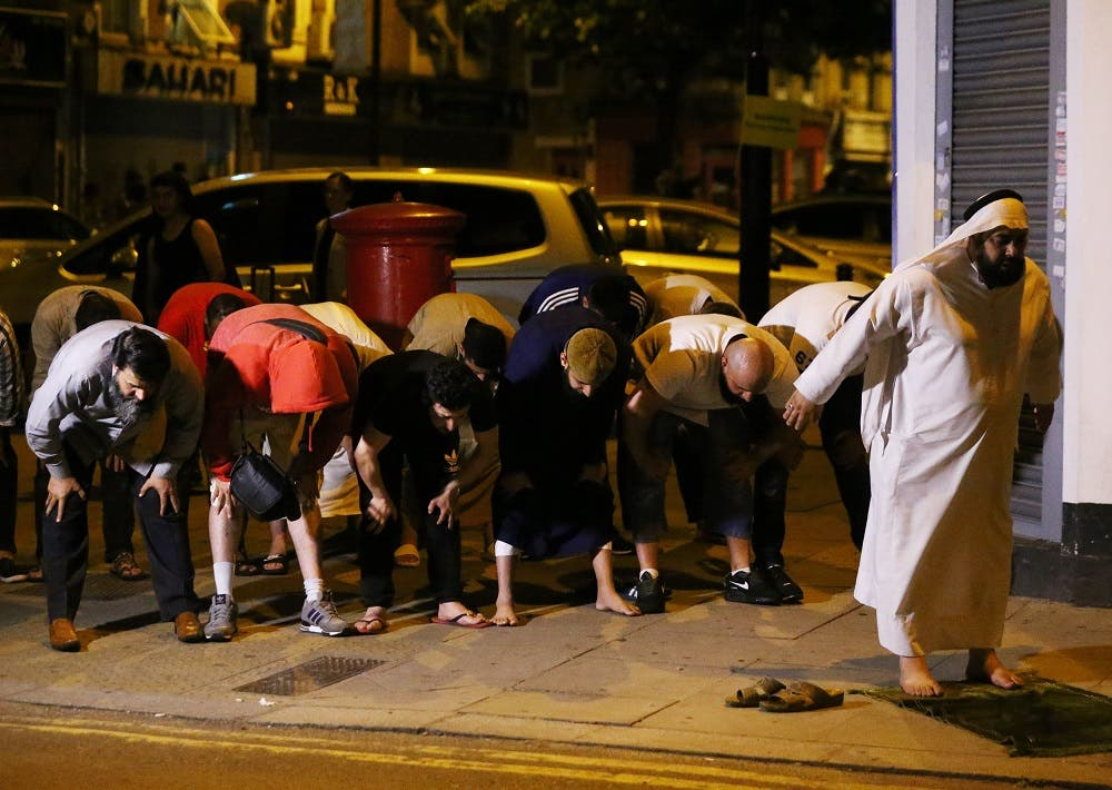 Several Muslim worshipers took to the streets to pray for the victims in the aftermath of a terror attack that left at least one person dead.