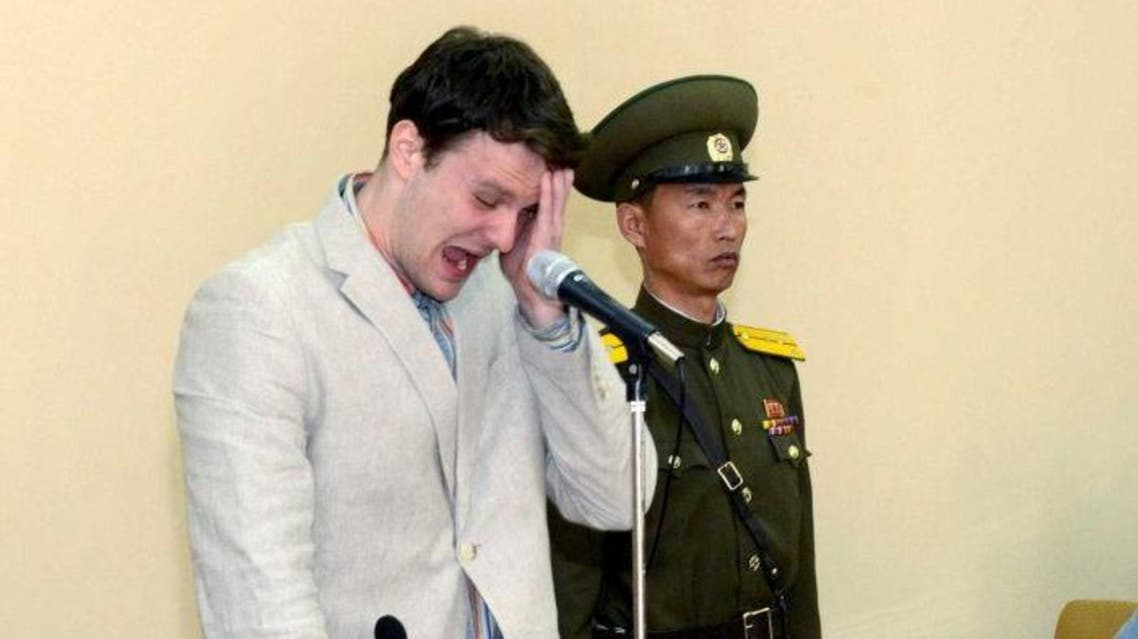 Otto Warmbier cries in court after being arrested in North Korea. ( Reuters)
