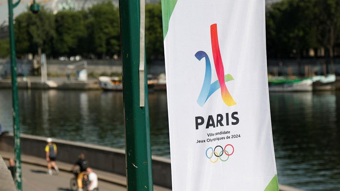 The logo of the Paris candidacy for the 2024 Olympic and Paralympic Games is seen on the Seine river banks in Paris, France, June 20, 2017. REUTERS/Charles Platiau