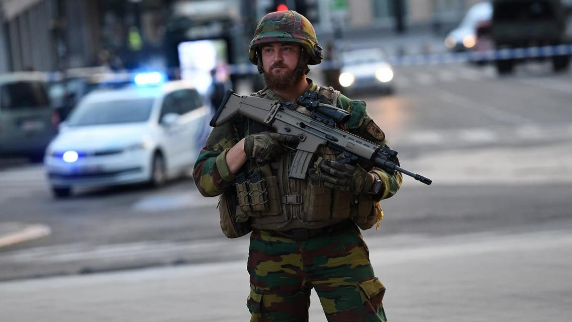 A soldier cordons off an area outside Gare Central in Brussels on June 20, 2017, after an explosion in the Belgian capital. (Brussels)