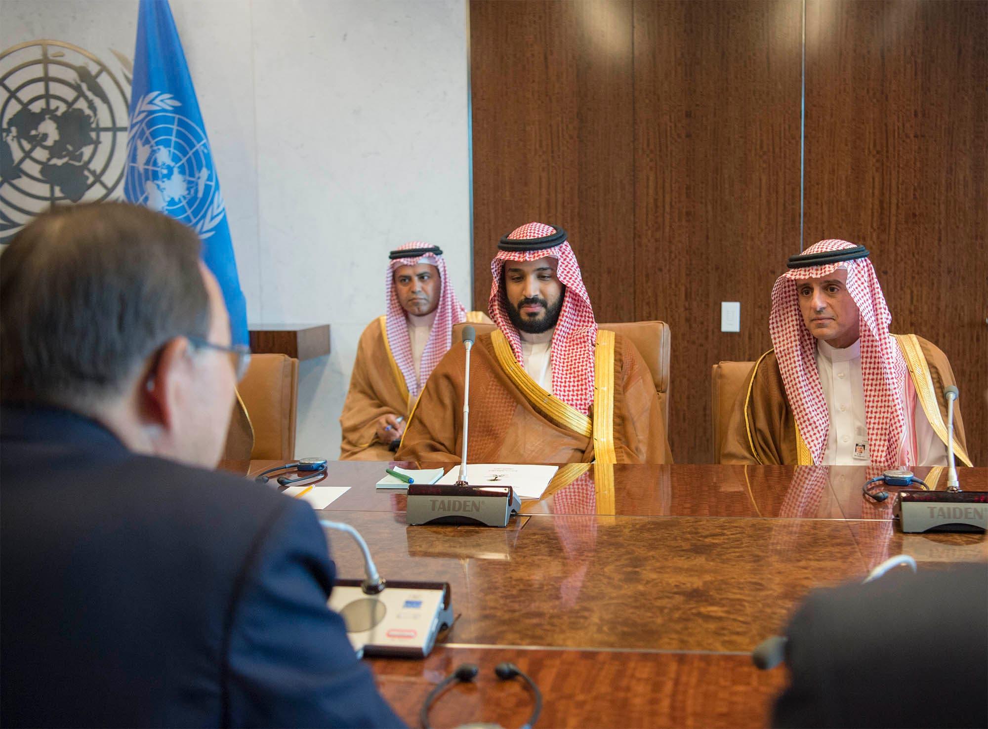 شاهزاده محمد بن سلمان به همراه بان کی مون دبیرکل پیشین سازمان ملل متحد