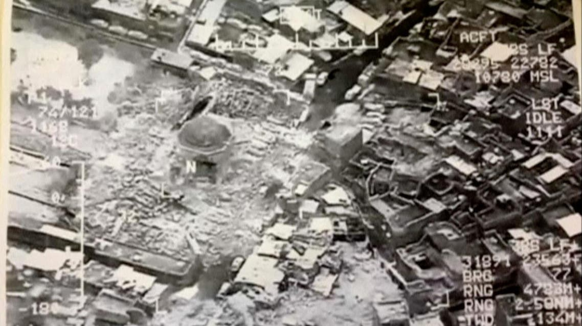 A still image taken from video shows the destroyed Grand al-Nuri Mosque of Mosul in Iraq, June 21, 2017. (Reuters)