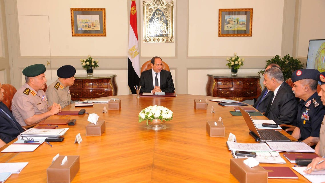 Egyptian President Abdel Fattah al-Sisi (C) attendes an urgent meeting after the gunmen attack in Minya, together with leaders of the Supreme Council of the Armed Forces and the Supreme Council for Police, at the Ittihadiya presidential palace in Cairo, Egypt May 26, 2017 in this handout picture courtesy of the Egyptian Presidency. (Reuters)