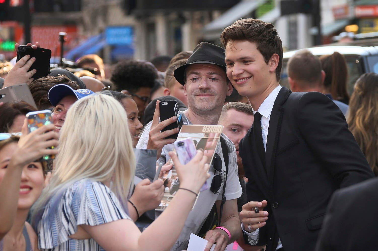 Actor Ansel Elgort poses for photographs upon arrival at the premiere of the film 'Baby Driver' in London. (AP)