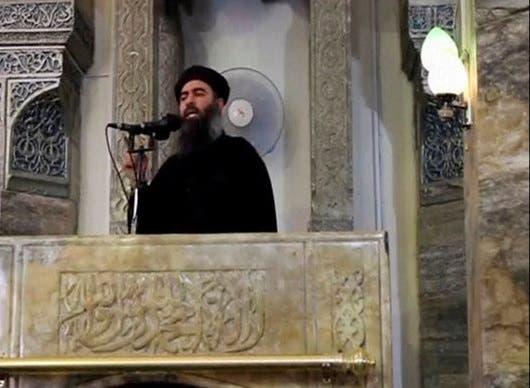 ابوبکر البغدادی رهبر داعش در مسجد النوری