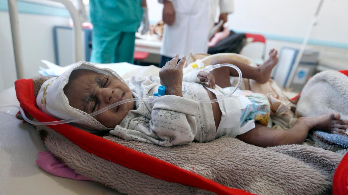A Yemeni child suspected of being infected with cholera receives treatment at a hospital in Sanaa on May 25, 2017. afp