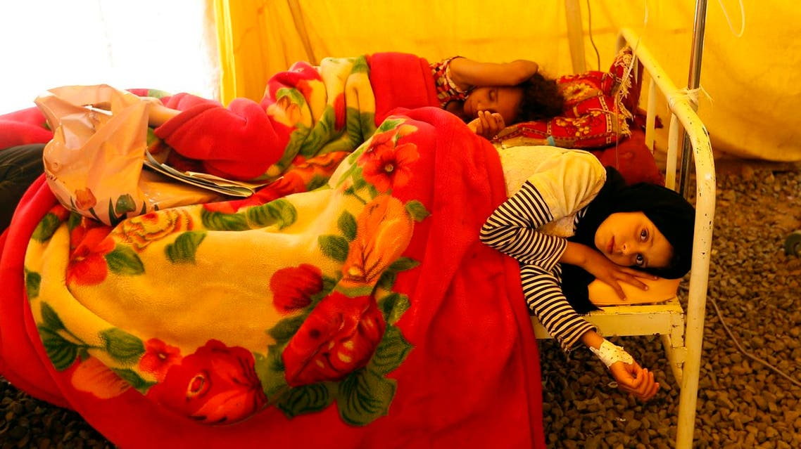 Yemeni children infected with cholera receive treatment at Sabaeen Hospital in Sanaa, on June 13, 2017. (AFP)