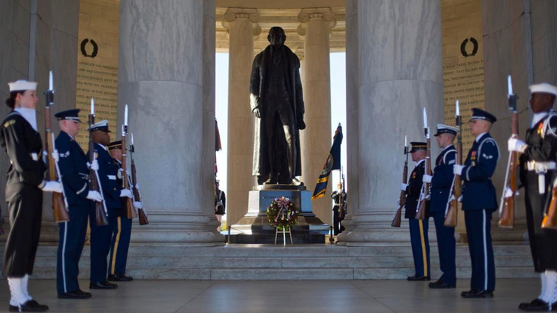 Members of the US Armed Forces conduct a Presidential Full Honor wreath- laying ceremony in honor of Thomas Jefferson, third President of the US and American founding father, to celebrate Jefferson's 273rd birthday, on April 13, 2016, at the Jefferson Memorial in Washington. (AP)