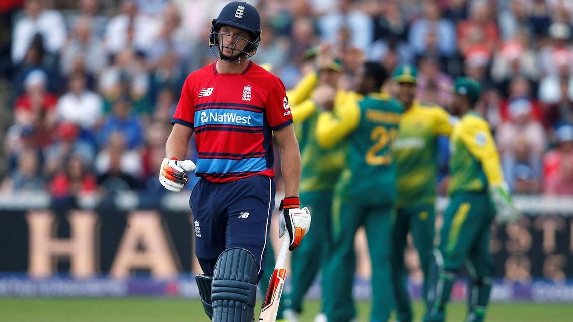 England's Joe Butler looks dejected after being bowled by South Africa's Andile Phehlukwayo. (Reuters)