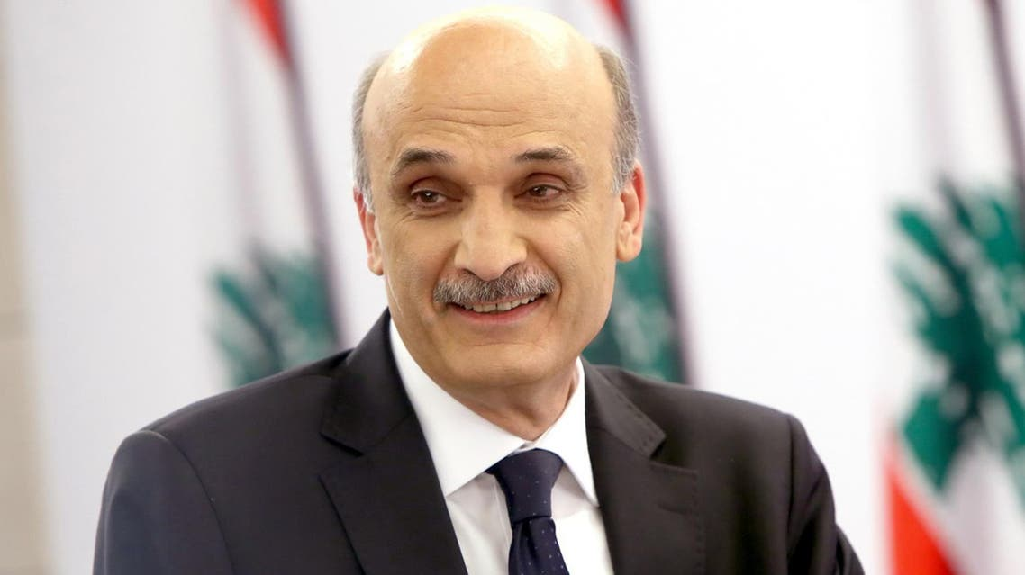 A handout picture distributed by Lebanon's leading anti-Damascus Christian party Samir Geagea's press office on April 24, 2014 shows him during the broadcast of a special political show by