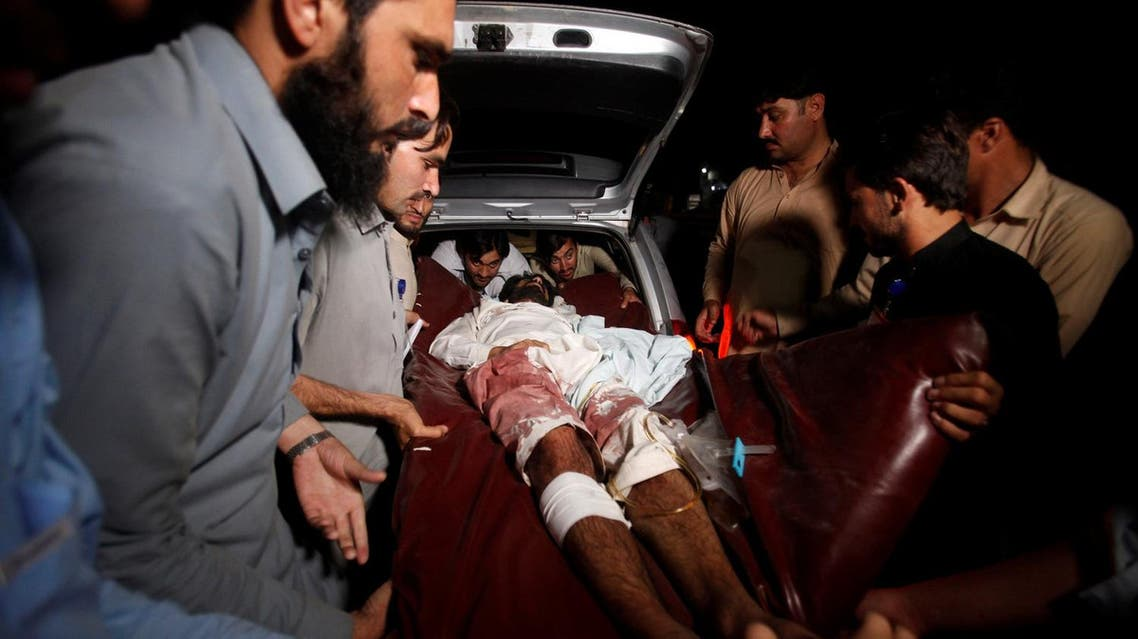 A man injured in the Parachinar blasts is carried to a hospital in Peshawar, Pakistan June 24, 2017. (Reuters)