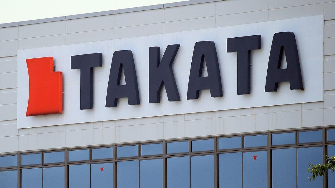 This photo taken on June 24, 2017 shows the logo of Japan's car parts giant Takata in the town of Aisho in Shiga prefecture. Japan's crisis-hit airbag maker Takata on June 26 filed for bankruptcy protection, the company said.