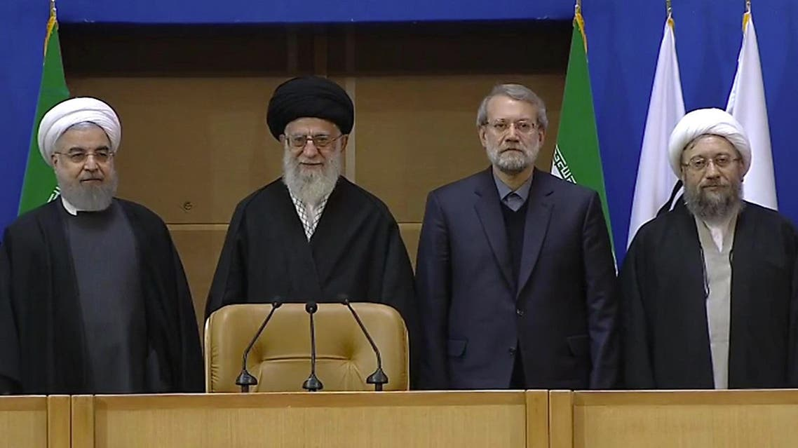 Hasan Rouhani is seen with Supreme Leader Ayatollah Ali Khamenei, Ali Larijani and judiciary chief Sadeq Larijani in this February 21, 2017 photo. (AFP)