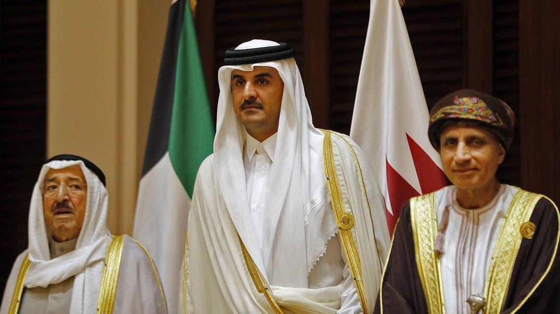 Emir of Kuwait Sabah al-Ahmad al-Jaber al-Sabah, Emir of Qatar Sheikh Tamim bin Hamad al-Thani (C) and Oman's Foreign Minister Yusuf bin Alawi attending a GCC summit in Manama on December 07, 2016. (AFP)