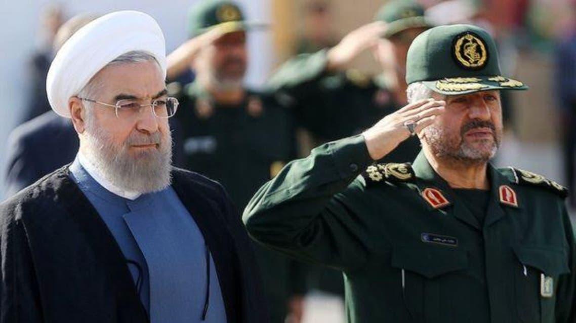 الرئيس الايراني حسن روحاني وقائد الحرس الثوري محمد علي جعفري