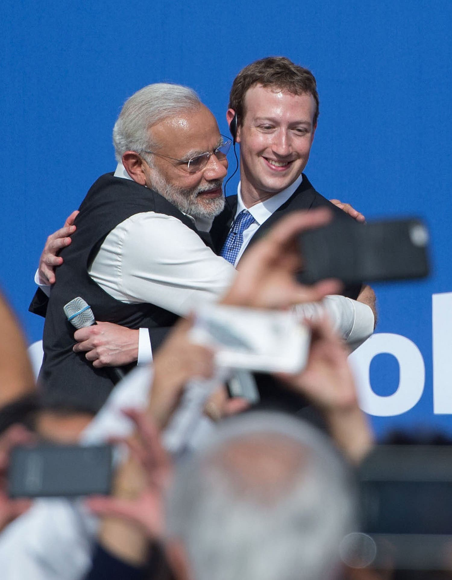 Narendra Modi and Facebook CEO Mark Zuckerberg hug after a Townhall meeting, at Facebook headquarters in Menlo Park, California, on September 27, 2015. (AFP)