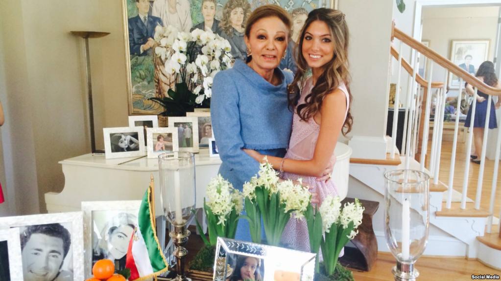 نور پهلوی در کنار مادربزرگش فرح پهلوی آخرین ملکه ایران
