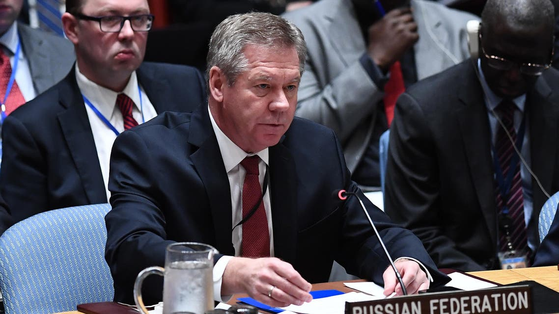 Russian deputy foreign minister Gennady Gatilov speaks during a security council meeting on North Korea at the United Nations headquarters in New York on April 28, 2017