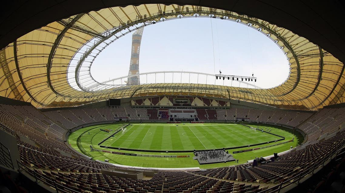 A picture taken with a fisheye lens on May 18, 2017, shows a general view of the Khalifa International Stadium in Doha after it was refurbished ahead of the Qatar 2022 FIFA World Cup. (AFP)