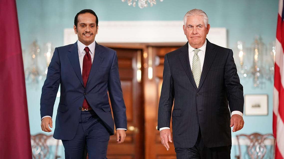 U.S. Secretary of State Rex Tillerson (R) escorts Qatari Foreign Minister Sheikh Mohammed Bin Abdulrahman Al Thani (L) prior to a scheduled meeting at the State Department June 27, 2017 in Washington, DC. (AFP)