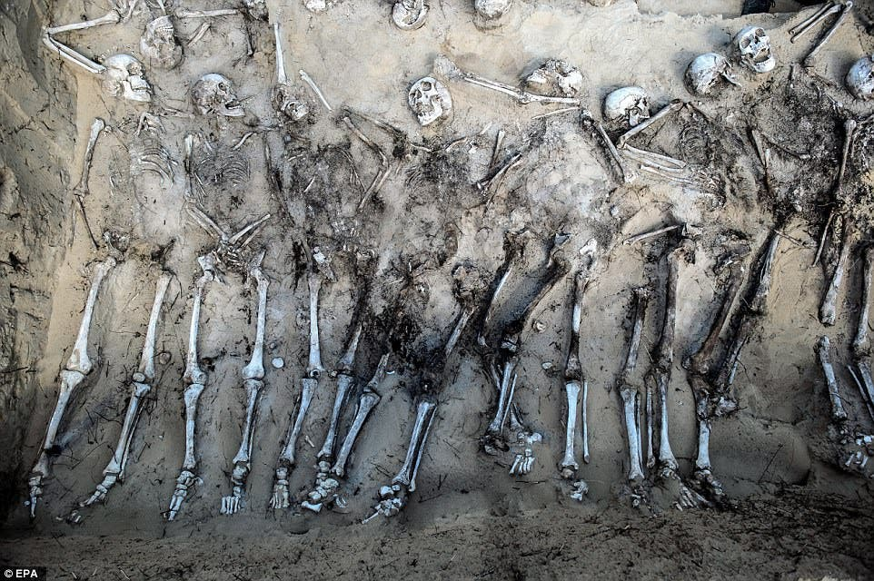 الهياكل العظمية للجنود الروس في مقبرة جماعية