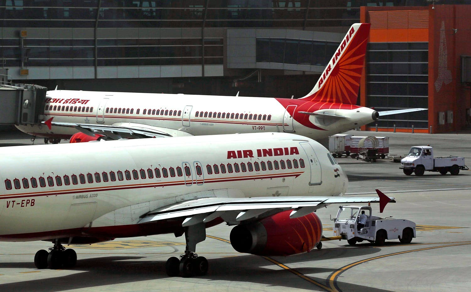 Air India planes parked on the tarmac at the Terminal 3 of Indira Gandhi International Airport in New Delhi. (File photo: AP)
