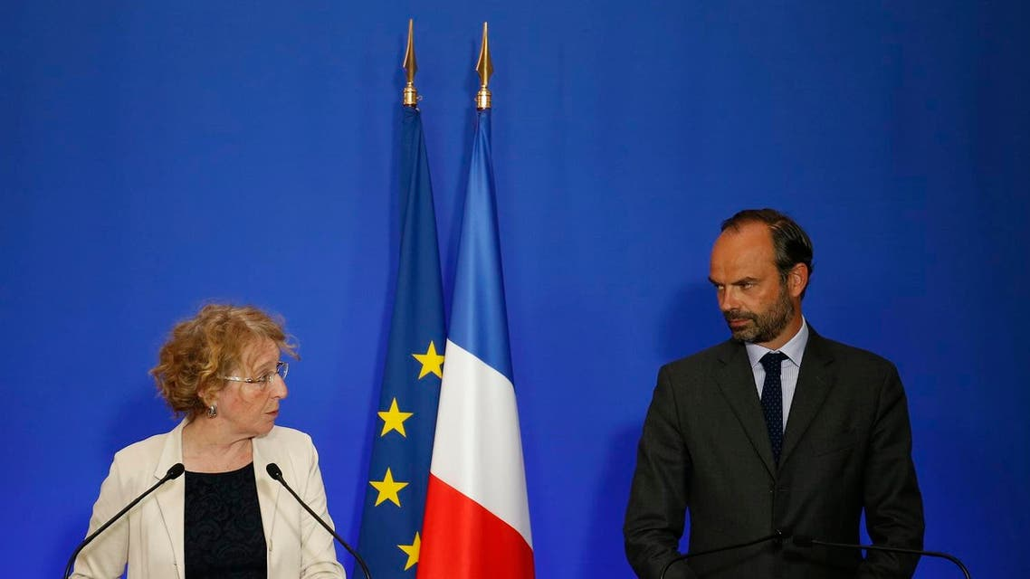 French Prime Minister Edouard Philippe (right), and Minister of Labor Muriel Penicaud at a press conference on labor reform. (AP)