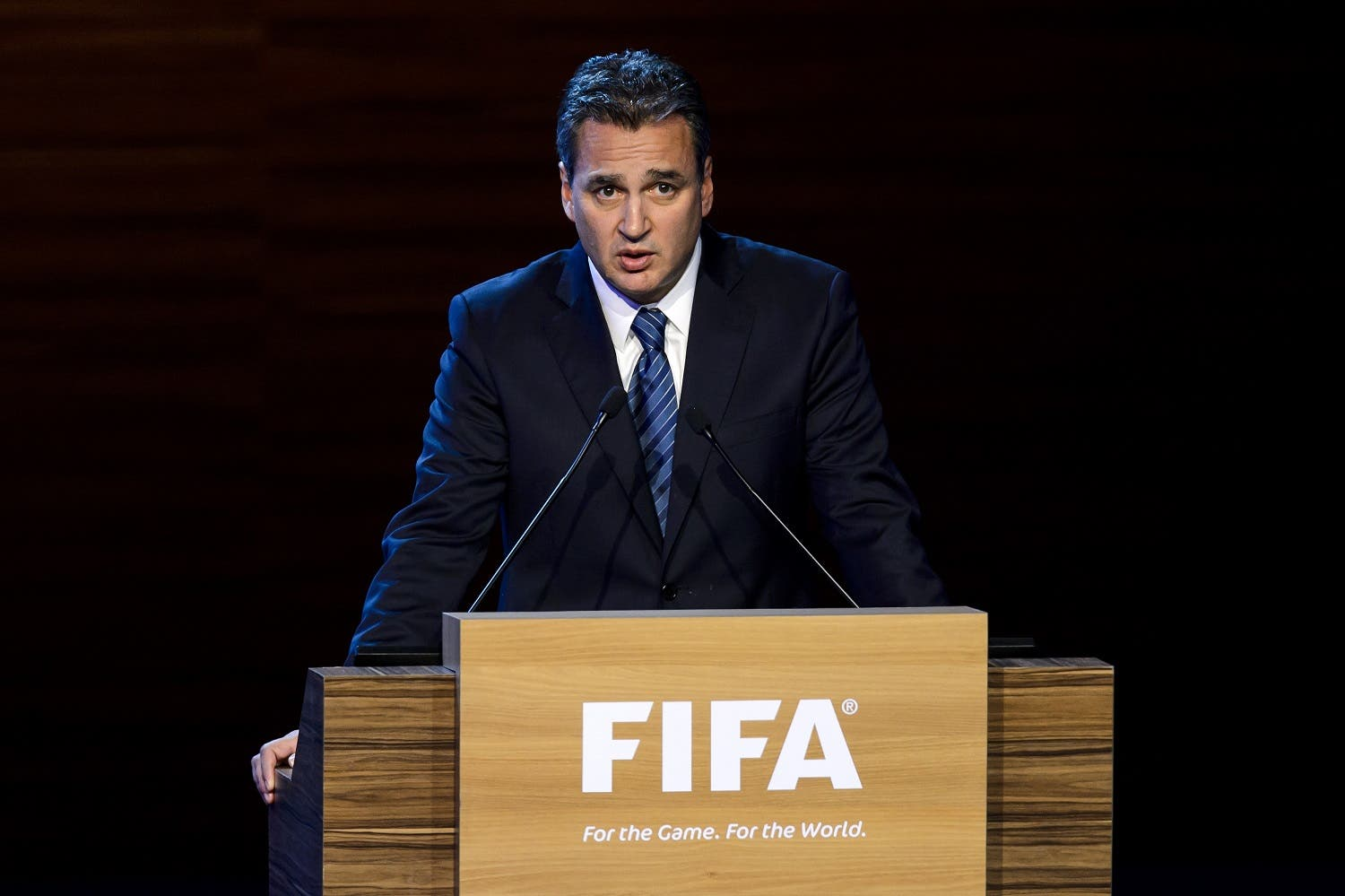 FIFA ethics prosecutor Michael Garcia delivers a speech during the 64th FIFA congress on June 11, 2014 in Sao Paulo, on the eve of the opening match of the 2014 FIFA World Cup in Brazil. AFP PHOTO / FABRICE COFFRINI