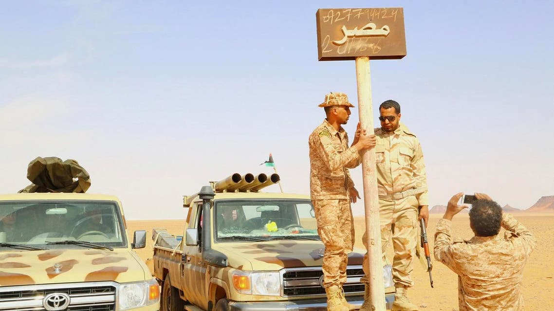 Troops from the national Egyptian army at the Libyan-Egyptian border, near Kufra. (File photo, Reuters)