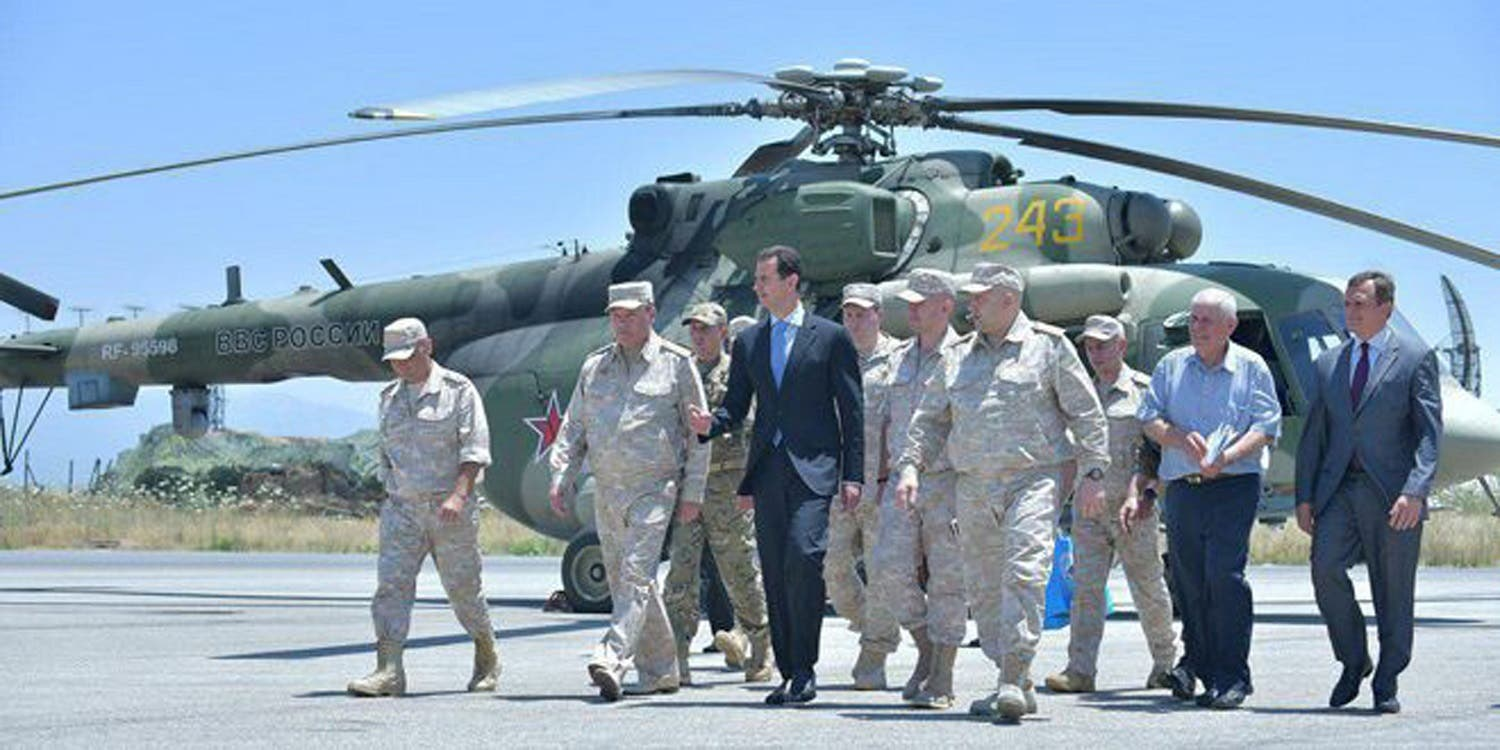 Syria's President Bashar al-Assad visits a Russian air base at Hmeymim, in western Syria in this handout picture posted on SANA on June 27, 2017. Reuters