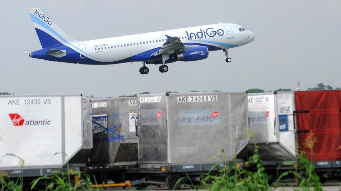 India's budget airline IndiGo approaches for landing at the Indira Gandhi International  Airport in New Delhi. (AP)