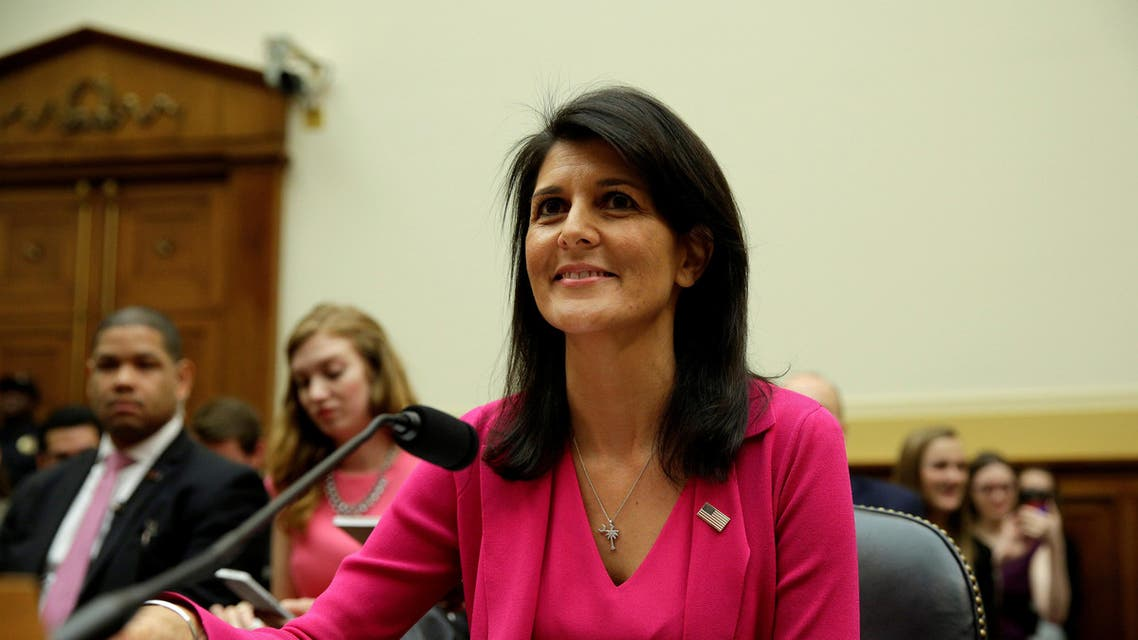 """.S. Ambassador to the United Nations Nikki Haley arrives to testify to the House Foreign Affairs Committee on """"Advancing U.S. Interests at the United Nations"""" in Washington, U.S., June 28, 2017. REUTERS"""