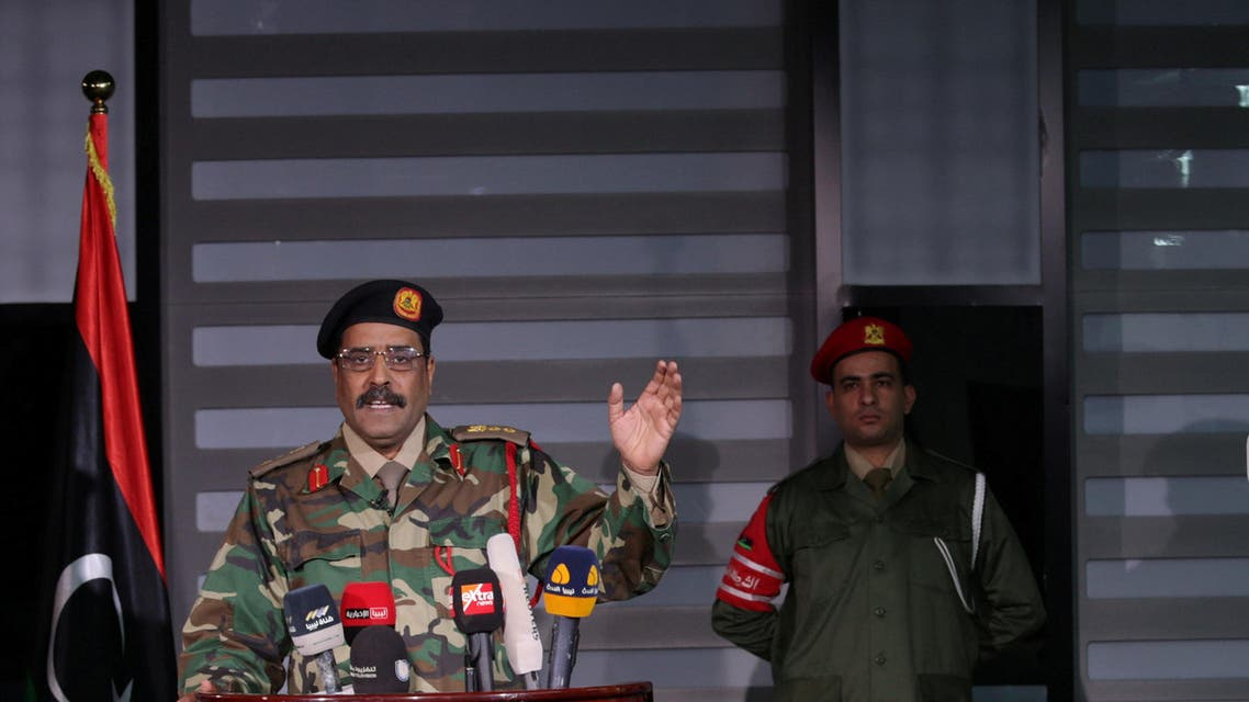 Ahmed al-Mismari, spokesman for the eastern-based Libyan National Army (LNA), gestures during a news conference in Benghazi Reuters