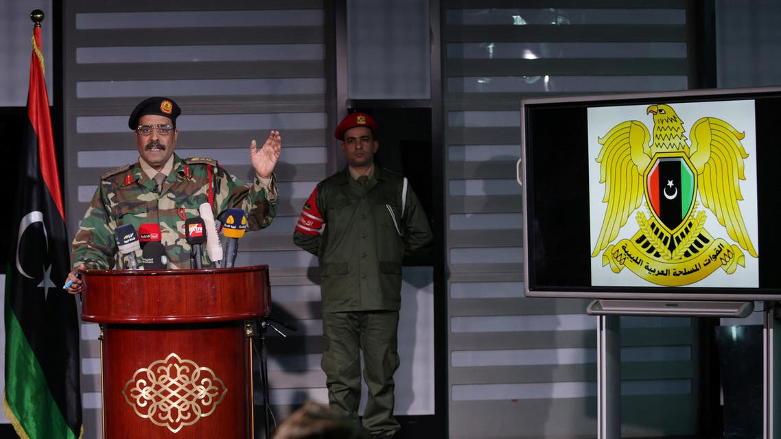 Ahmed al-Mismari, spokesman for the eastern-based Libyan National Army (LNA), gestures during a news conference in Benghazi, Libya March 18, 2017. REUTERS