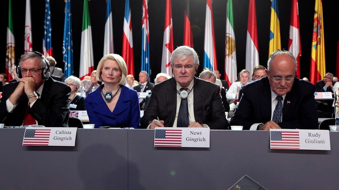 Dennis Hastert, Callista and Newt Gingrich, and Rudy Giuliani, attend the annual meeting of the Iranian resistance on June 22, 2013. (File photo: AFP)